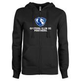 ENZA Ladies Black Fleece Full Zip Hoodie-Eastern Illinois Panthers