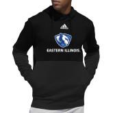 Adidas Black Team Issue Hoodie-Eastern Illinois Logo