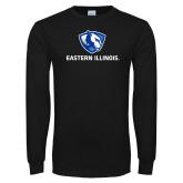Black Long Sleeve T Shirt-Eastern Illinois Logo