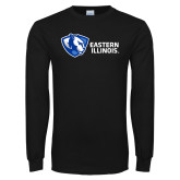 Black Long Sleeve T Shirt-Eastern Illinois Horizontal