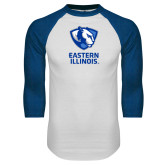 White/Royal Raglan Baseball T Shirt-EIU Primary Logo