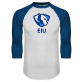 White/Royal Raglan Baseball T Shirt-Eastern Illinois Secondary
