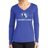 Ladies Syntrel Performance Royal Longsleeve Shirt-Eastern Illinois Logo