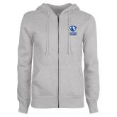 ENZA Ladies Grey Fleece Full Zip Hoodie-EIU Primary Logo