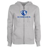 ENZA Ladies Grey Fleece Full Zip Hoodie-Eastern Illinois Logo