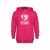 Youth Raspberry Fleece Hoodie-EIU Primary Logo