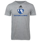 Adidas Sport Grey Logo T Shirt-Eastern Illinois Logo