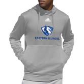 Adidas Grey Team Issue Hoodie-Eastern Illinois Logo