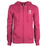 ENZA Ladies Fuchsia Fleece Full Zip Hoodie-EIU Primary Logo