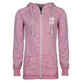 ENZA Ladies Hot Pink Marled Full Zip Hoodie-EIU Primary Logo
