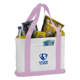 Contender White/Pink Canvas Tote-EIU Primary Logo
