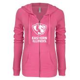 ENZA Ladies Hot Pink Light Weight Fleece Full Zip Hoodie-EIU Primary Logo