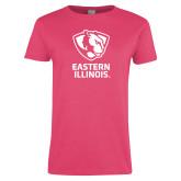 Ladies Fuchsia T Shirt-EIU Primary Logo