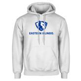 White Fleece Hoodie-Eastern Illinois Logo