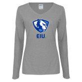 Ladies Grey Long Sleeve V Neck Tee-Eastern Illinois Secondary