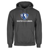 Charcoal Fleece Hoodie-Eastern Illinois Logo