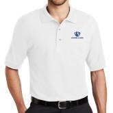 White Easycare Pique Polo-Eastern Illinois Logo