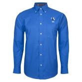 Mens Royal Oxford Long Sleeve Shirt-Eastern Illinois Secondary