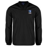 V Neck Black Raglan Windshirt-EIU Primary Logo