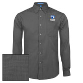 Mens Dark Charcoal Crosshatch Poplin Long Sleeve Shirt-EIU Primary Logo