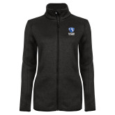 Black Heather Ladies Fleece Jacket-EIU Primary Logo