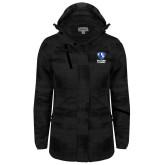Ladies Black Brushstroke Print Insulated Jacket-EIU Primary Logo