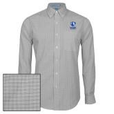 Mens Charcoal Plaid Pattern Long Sleeve Shirt-EIU Primary Logo