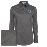 Ladies Grey Tonal Pattern Long Sleeve Shirt-Eastern Illinois Secondary