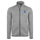 Grey Heather Fleece Jacket-EIU Primary Logo