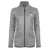 Grey Heather Ladies Fleece Jacket-EIU Primary Logo