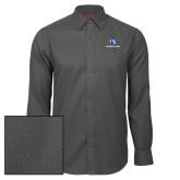 Red House Dark Charcoal Diamond Dobby Long Sleeve Shirt-Eastern Illinois Logo