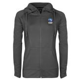 Ladies Sport Wick Stretch Full Zip Charcoal Jacket-EIU Primary Logo