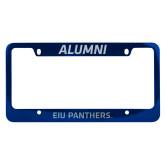 Alumni Metal Blue License Plate Frame-EIU Panthers Engraved
