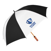 62 Inch Black/White Vented Umbrella-EIU Primary Logo