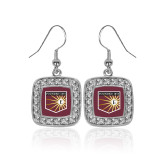 Crystal Studded Square Pendant Silver Dangle Earrings-Shield