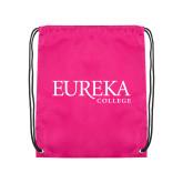 Pink Drawstring Backpack-Wordmark
