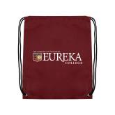 Maroon Drawstring Backpack-Eureka College w/ Shield