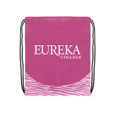 Nylon Zebra Pink/White Patterned Drawstring Backpack-Wordmark