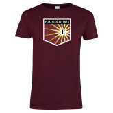 Ladies Maroon T Shirt-Shield