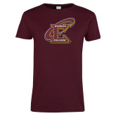 Ladies Maroon T Shirt-Primary Athletic Mark