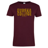 Ladies Maroon T Shirt-Block Text Distressed