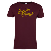 Ladies Maroon T Shirt-Fancy Script