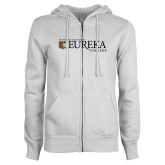 ENZA Ladies White Fleece Full Zip Hoodie-Eureka College w/ Shield