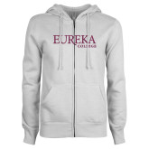 ENZA Ladies White Fleece Full Zip Hoodie-L Pink Glitter