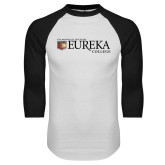 White/Black Raglan Baseball T Shirt-Eureka College w/ Shield