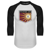 White/Black Raglan Baseball T Shirt-Shield
