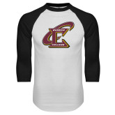 White/Black Raglan Baseball T Shirt-Primary Athletic Mark