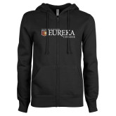 ENZA Ladies Black Fleece Full Zip Hoodie-Eureka College w/ Shield