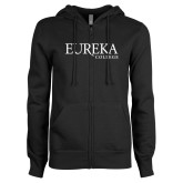 ENZA Ladies Black Fleece Full Zip Hoodie-Wordmark