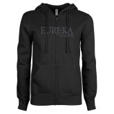 ENZA Ladies Black Fleece Full Zip Hoodie-F Graphite Soft Glitter